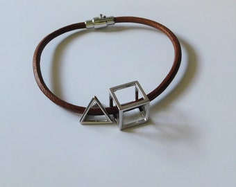 Leather bracelet with geometric charms. Minimalist bracelet. Geometric bracelet. Custom size bracelet. Unique design bracelet by JuSal08.