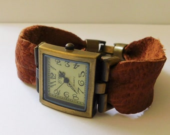 Unique genuine leather watch,  square bronze watch with rustic cut leather band,  vintage minimalist exclusive design watch by JuSal08