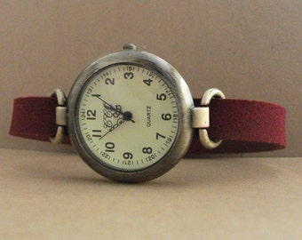 Watch for woman, leather watch, unique watch, garnet color strap watch, casual minimalist woman watch by JuSal08