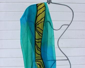 Hand painted silk scarf, Norwegian scarf, wearable art,silk painting,handmade,arctic, unique scarf,scandinavian,