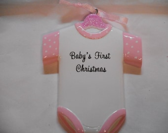 Girl Baby's 1st Christmas Onsie Personalized Christmas Present