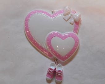 Girl Baby's 1st Christmas Double Heart Personalized Christmas Present