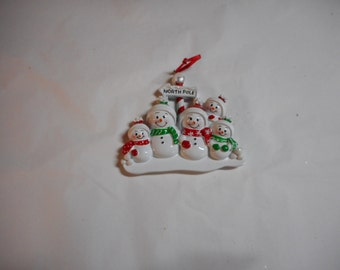 Family of 5 Snowman North Pole