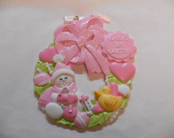 Girl Baby's 1st Christmas Wreath Personalized Christmas Ornament