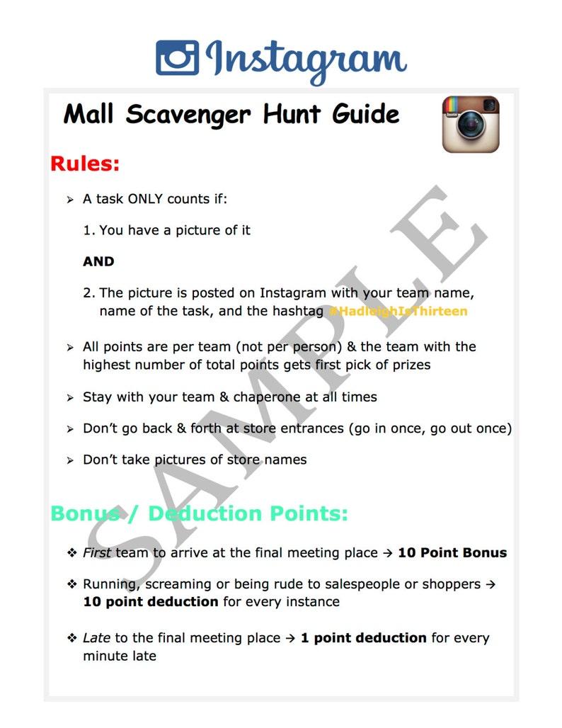 Hunt prizes scavenger mall Teen Birthday
