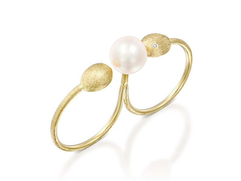Pearl Gold Nuggets Minimalist Gold Ring Double Ring Diamonds Dainty Jewelry Yellow Gold Two Fingers Ring Stacking Ring Open Ring