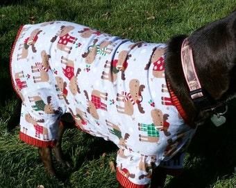 Dog Christmas pajamas, moose print pajamas, large dog pajamas, flannel, custom sizes available -  size S to XXL