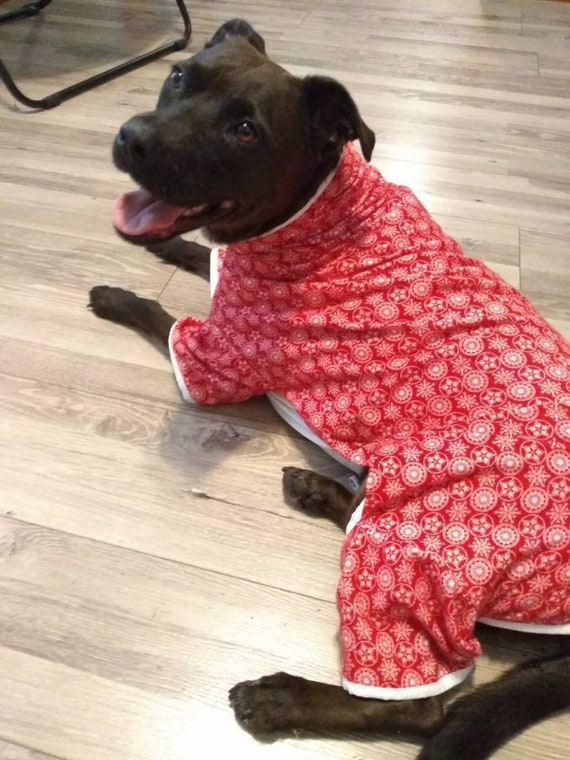 Christmas Pajamas For Dogs.Dog Clothes Christmas Pajamas For Dogs Reindeer Flannel Pajamas Custom Sizing Available Same Price For Any Size Size S To Xxl