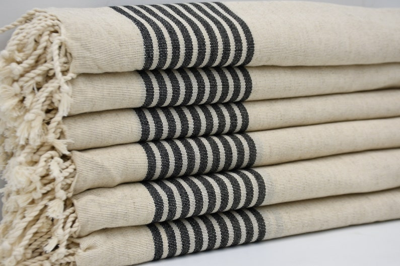 Black Striped Linen TowelTurkish PeshtemalPeshtemalBath image 0