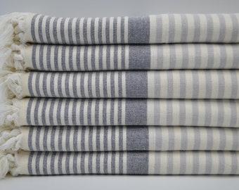 "Terry Hand Towel,Tea Towel,Face Towel,Hand Towel,Kitchen Towel,Black and Gray Striped Hand Towel,Peshkir Towel,18""x36"",B7-terryH"