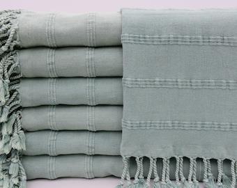"Turkish Hand Towel,Pale Green Hand Towel,Napkin Towel,Service Towel,22""x38"",Peshkir Towel,Turkish Peshkir,Stone Washed Hand Towel,B9-ZeusH"