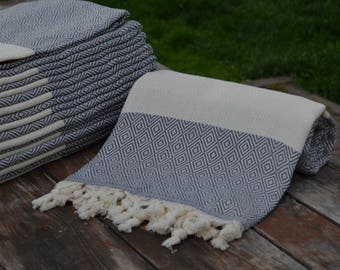 "Gray Diamond Towel,Turkish Towel,Organic Towel,Peshtemal,Beach Towel,Hammam Towel,Shower Towel,Soft Turkish Peshtemal,40""x70"",M1-elmas"