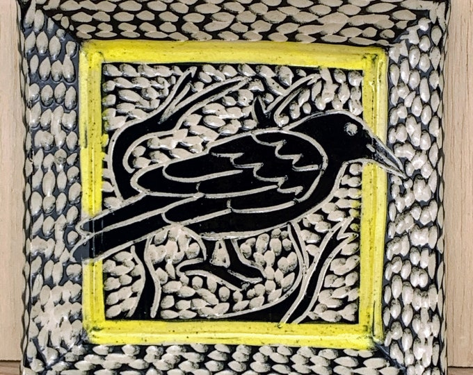 Yellow Crow Sgraffito Cocktail Plate