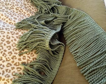 """5+ Yards of 8 3/4"""" Bullion Fringe Upholstery in Spring Green Color  by Calico Corners Made in Germany"""