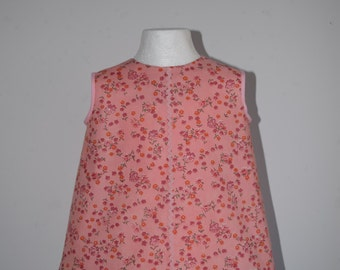 Baby Toddler Cotton Dress Frock 1970s Peach Pink Floral RicRac