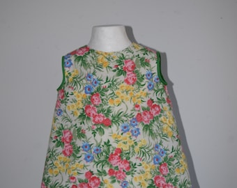 Baby Toddler Cotton Dress Frock in Vintage Cotton Floral