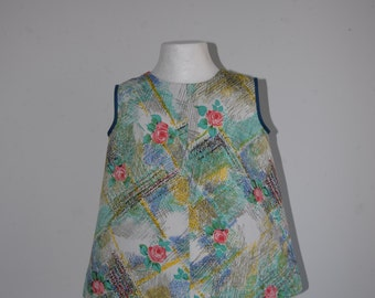 Baby Toddler Cotton Dress Frock 1950s Painterly Rose Print