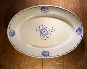 Antique french ironstone ovale plate from an unknown factory stamped Serpenta S.F.N.G.R terre de fer at the back, probably late 19th Century