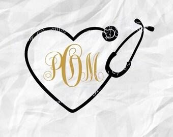 Stethoscope Svg, Heart Monogram Stethoscope SVG, Heart Stethoscope SVG, Nurse Svg, Doctor Svg, Nurse Love DXF, Files for Cricut