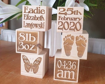 Wooden personalised blocks. Perfect gift for christening or new baby gift