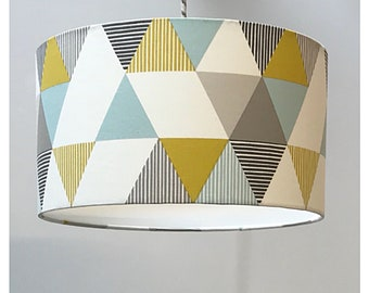 Geometric Mustard Teal Grey Lightshade & diffuser 20cm 25cm 30cm 35cm 40cm 45cm 50cm 55cm 60cm 70cm