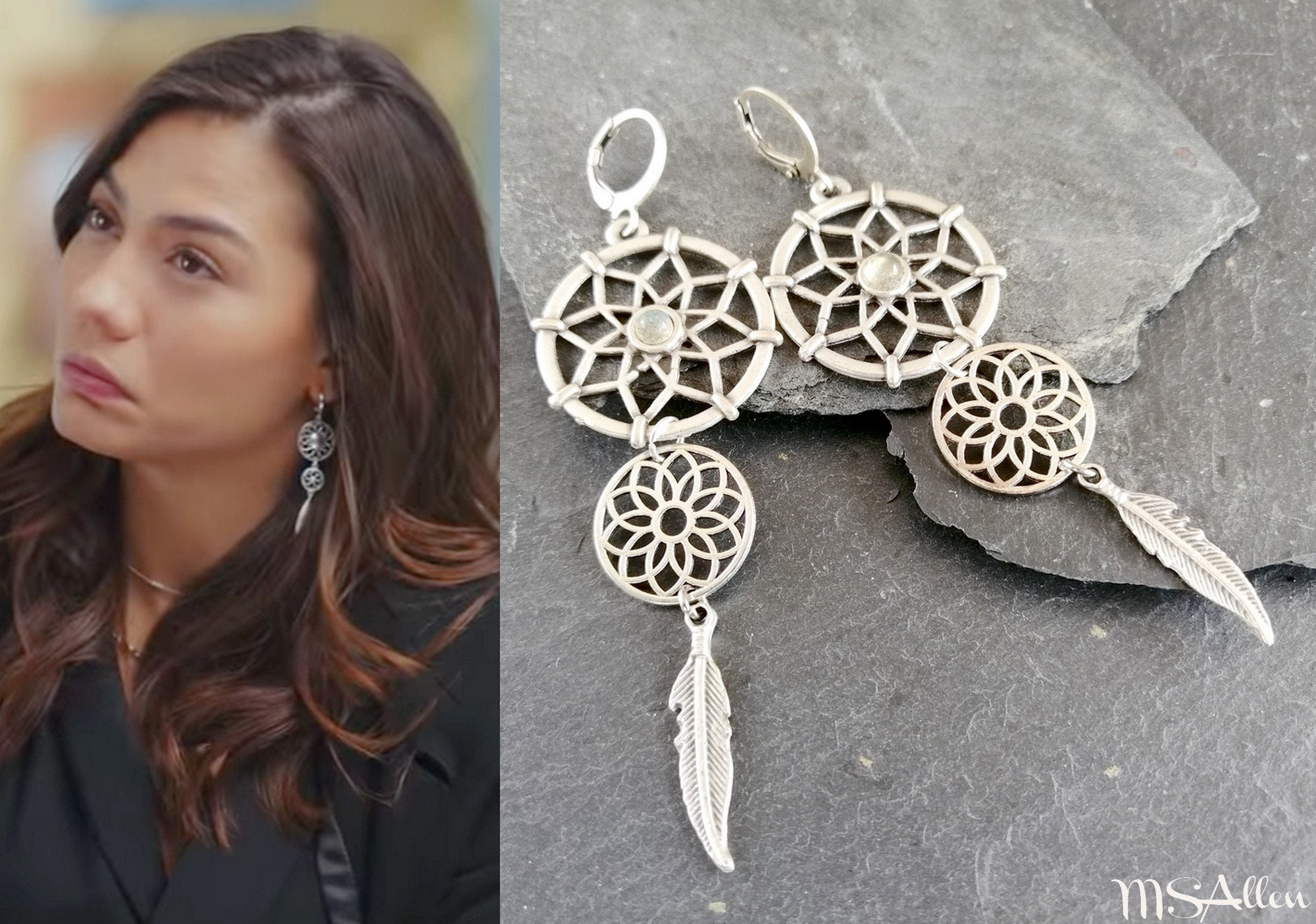 Erkenci Kus Sanem Copper Brass Hoop Spike Drop Statement Boho Ethnic Tribal Earrings  Turkish Dizi  Dangle Earrings  Made In France