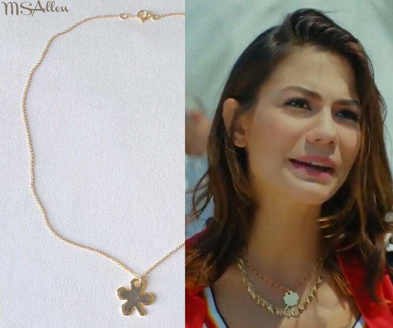 Erkenci Kus Turkish Dizi Sanem 14 Carats Gold Lucky Charm Clover Pendant  Necklace // Gold Pendant Necklace Choker // Made in France
