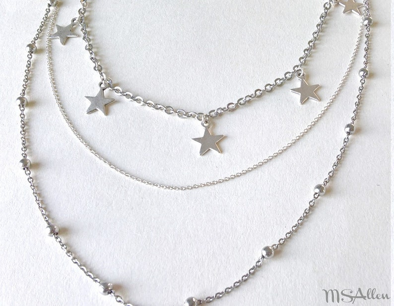Erkenci Kus Turkish Dizi Sanem Sterling Silver Stainless Steel Star Charm 3  Strands Multistrand Necklace // Silver Choker // Made in France