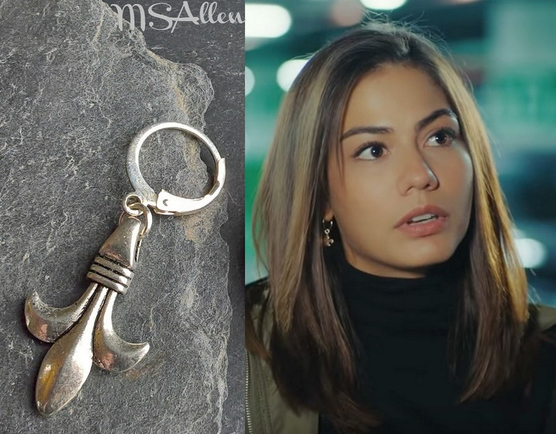 Erkenci Kus Sanem Silver Fleur de Lys Hoop Statement Boho Earrings /  Turkish Dizi / Dangle Earrings / Made In France