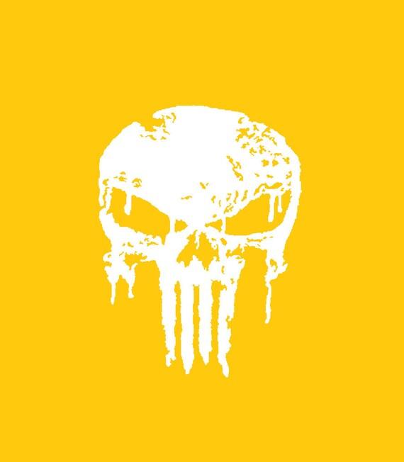 High Heat Dripping Punisher Skull Vinyl Stencil 1 X