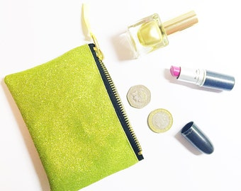 Lime green glitter purse. Sparkly wallet.