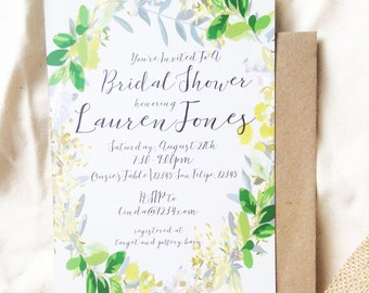 Rustic, Green Wreath Natural Bridal Shower Invite, Printable
