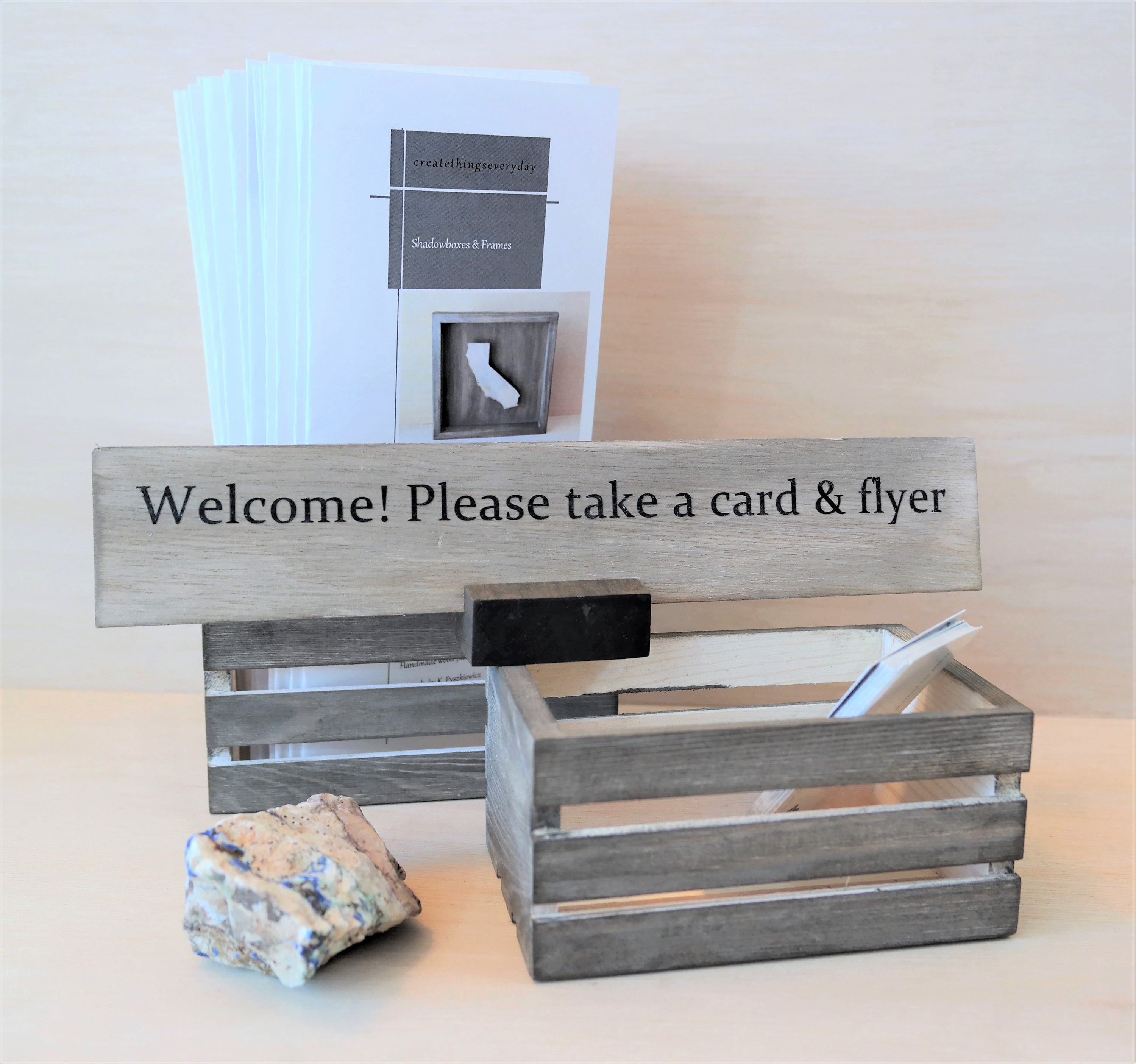 Shop Pop Up Business Card/Flyers/Brochures/Party Decor Wooden Box Holder