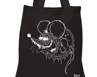 Rat Fink Big Daddy Roth - black tote bag - 100% cotton