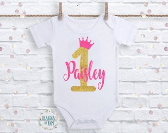 First Birthday Shirt 1st Outfit One Crown Pink And Gold Baby Shirts