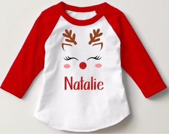 reindeer christmas shirt girl monogram christmas shirts christmas shirts for kids baby toddler christmas christmas raglan girl ruffle raglan - Christmas Shirts For Girls