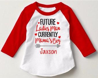 Boys Valentine Shirt-Ladies Man Shirt-Mama's Boy Shirt-Monogram Valentine Shirt-Valentine's Day Shirt for Kids-Boy Shirt for Valentine's Day