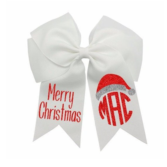 5c34d49ef163b Girls Christmas Hair Bow-Monogram Christmas Hair