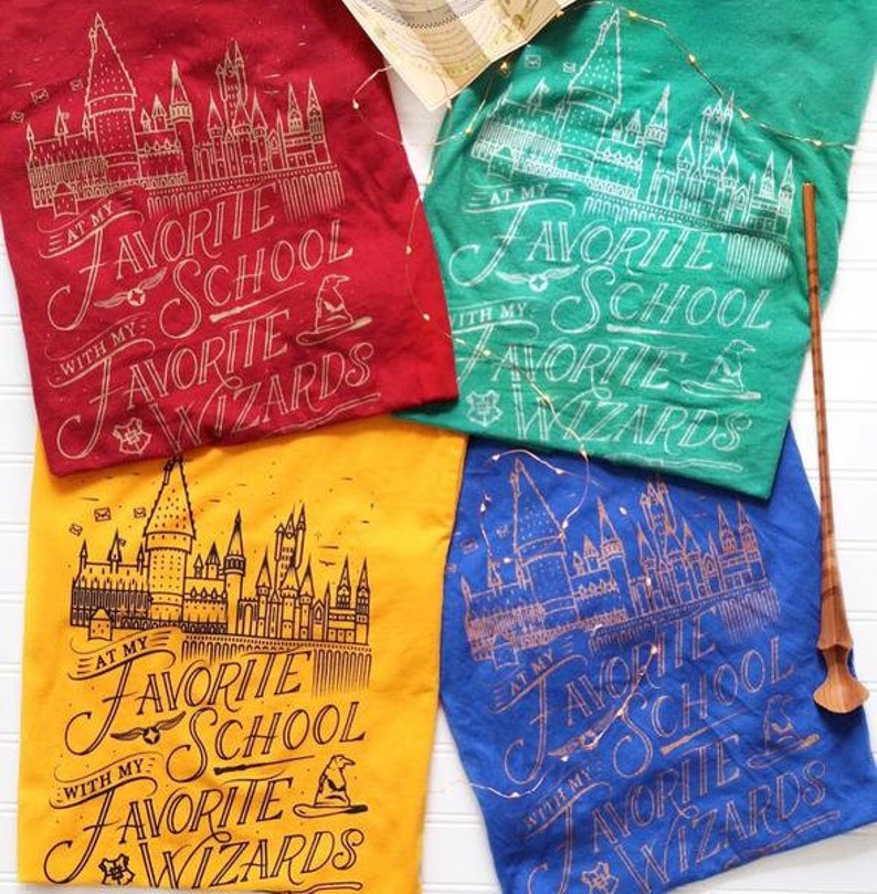 At my favorite school Hogwarts t-shirt in four harry potter colors.