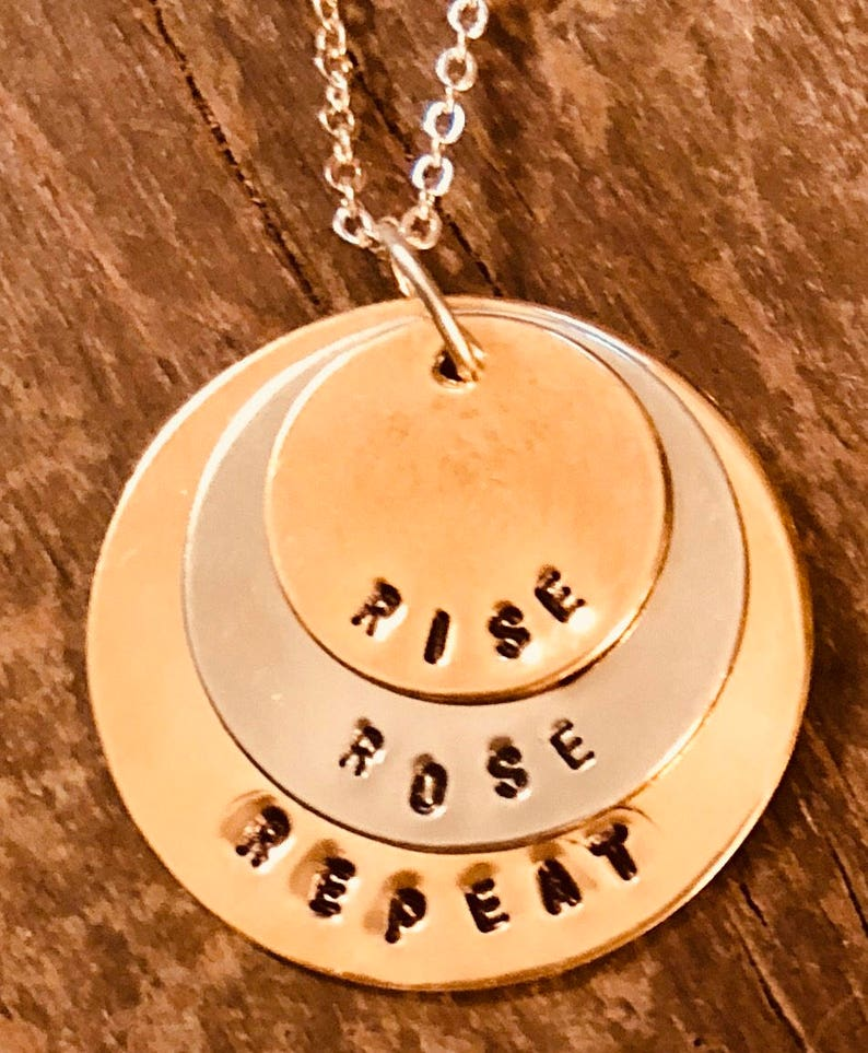 Hand stamped Rise Ros\u00e9 Repeat necklace