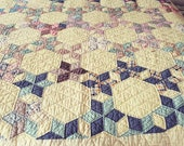 1940 39 s Beautiful Honeycomb or Six Point Star vintage quilt with feedsacks