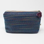 RESERVED FOR KATIE Handwoven Zippered Pouch - Petrol Blue, Purple, Red, Gold zero waste recycled remnants organic cotton makeup