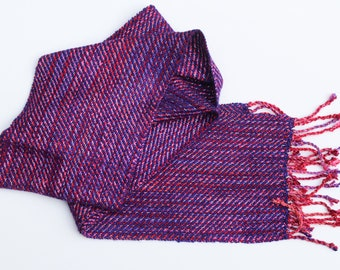 Grape Jelly Reflective Scarf - Handwoven Night Safe Light up sparkle glow purple pink and red berry jam multicolor stripe winter warm