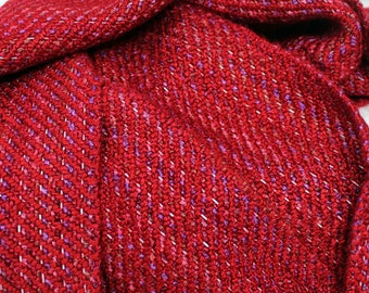Summer Berry Reflective Scarf - Flower Red Pink Handwoven Warm Night Safe light up sparkle stripe multicolor purple warm drape fringe