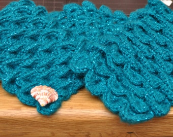 Turquoise Mermaid scarf with shell button