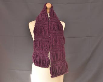 Purple puffy scarf