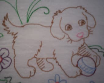 Sweet Dreams Puppy Embroidered Flour Sack Towel, Embroidered Puppy Towel, Puppy Towel, Dog Towel