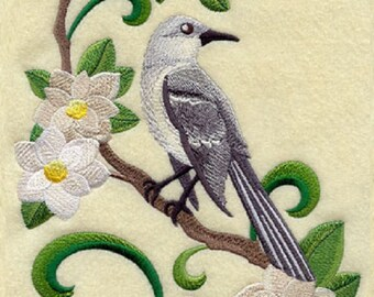 Mississippi Mockingbird And Magnolia Medley Embroidered Towel Flag