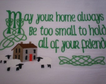 Irish Blessing of the Home Embroidered Flour Sack Towel, Irish Blessing of the Home Embroidered Towel, Irish Blessing Towel