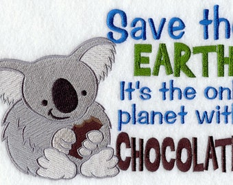 Save the Chocolate Planet Embroidered Flour Sack Towel, Save The Earth Towel, Chocolate Towel, Koala Towel, Earth Day Towel